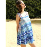 cheap Casual Printed Scoop Neck A-Line Women's Tank Dress