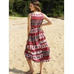 Ethnic Print Waisted Long Dress For Women photo