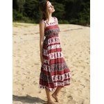 best Ethnic Print Waisted Long Dress For Women