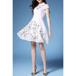 Mandarin Collar Embroidered Fit and Flare Dress deal