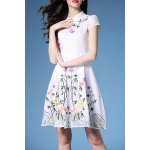 Mandarin Collar Embroidered Fit and Flare Dress