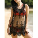 Alluring Scoop Neck Lace Spliced Women's Cover-Up