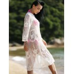 Stylish Long Sleeve See-Through Round Neck Women's Cover-Up deal