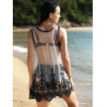 Stylish Scoop Neck Lace Spliced Embroidered Women's Cover-Up for sale