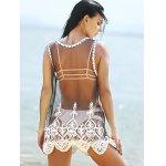 Stylish Scoop Neck Embroidered Lace Spliced Women's Cover-Up deal
