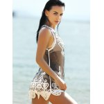 cheap Stylish Scoop Neck Embroidered Lace Spliced Women's Cover-Up