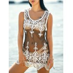Stylish Scoop Neck Embroidered Lace Spliced Women's Cover-Up