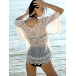 Sweet Spliced Scoop Neck Long Sleeve Women's Cover-Up Blouse deal