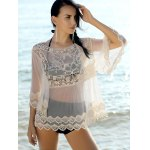 cheap Sweet Spliced Scoop Neck Long Sleeve Women's Cover-Up Blouse
