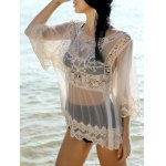Sweet Spliced Scoop Neck Long Sleeve Women's Cover-Up Blouse