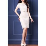 cheap Belted Guipure Lace Bodycon Dress
