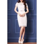 Belted Guipure Lace Bodycon Dress