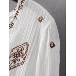 Stylish Plunging Neck Long Sleeve Ethnic Embroidery Women's Dress deal