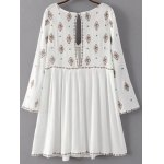 cheap Stylish Plunging Neck Long Sleeve Ethnic Embroidery Women's Dress