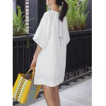 Stylish V Neck Half Sleeves Ethnic Embroidery Women's Dress deal