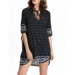 cheap Chic Women's 3/4 Sleeve Hollow Out Ethnic Print Dress
