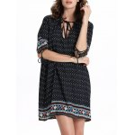 Chic Women's 3/4 Sleeve Hollow Out Ethnic Print Dress deal