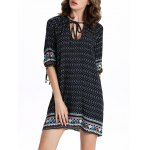 Chic Women's 3/4 Sleeve Hollow Out Ethnic Print Dress for sale