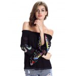 Chic Women's Ethnic Print Off The Shoulder Blouse for sale
