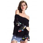 best Chic Women's Ethnic Print Off The Shoulder Blouse