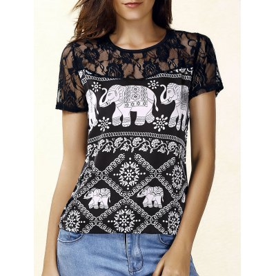 Jewel Neck Short  Sleeve Lace Panelled Print Blouse For Women