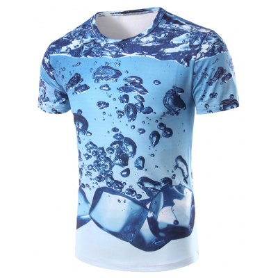 3D Icy Printed Round Neck Short Sleeve T-Shirt For Men