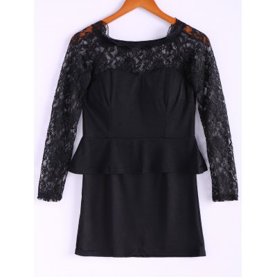 Long Sleeves Lace Splicing Boat Neck Sexy Style Women's Dress