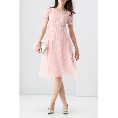 Lace Hollow Out Mesh Spliced Dress