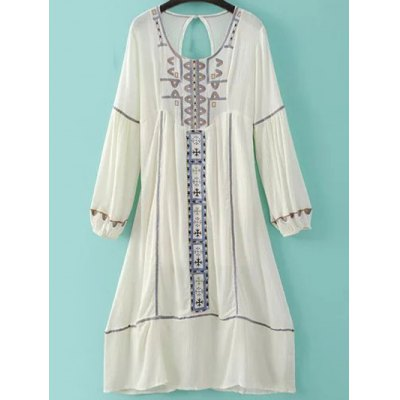 Scoop Neck Long Sleeve Back Cut Out Embroidery Dress