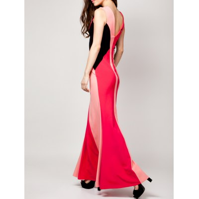 Fashion Plunging Neck Sleeveless Color Block Maxi Dress For Women