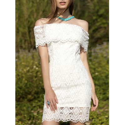 Off-The-Shoulder White Lace Dress