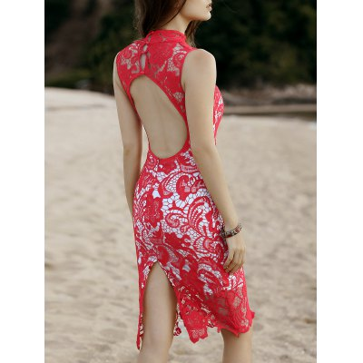 Alluring Stand Neck Cut-Out Back Women's Midi Lace Dress