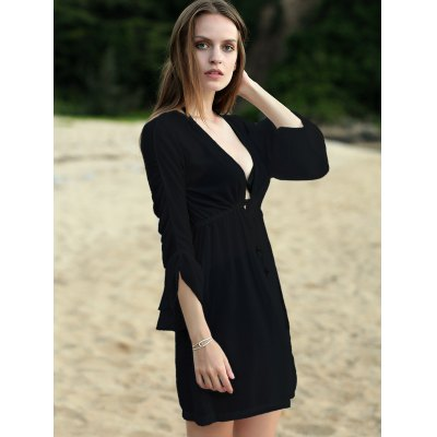 Stylish Plunging Neck Half Sleeve Pure Color Womens Chiffon DressMini Dresses<br>Stylish Plunging Neck Half Sleeve Pure Color Womens Chiffon Dress<br><br>Style: Casual<br>Occasion: Causal,Prom<br>Material: Lace,Polyester<br>Fabric Type: Chiffon<br>Silhouette: A-Line<br>Dresses Length: Mini<br>Neckline: Plunging Neck<br>Sleeve Length: Half Sleeves<br>Waist: Natural<br>Pattern Type: Solid<br>With Belt: No<br>Season: Spring,Summer<br>Weight: 0.320kg<br>Package Contents: 1 x Dress
