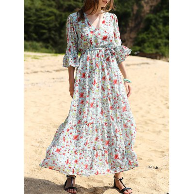 V Neck 3/4 Sleeve Full Floral Print Maxi Dress