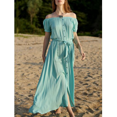 Button Front Closure Turquoise Dress