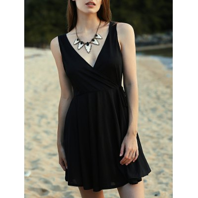 V-Neck Sleeveless Crossed Solid Color Dress