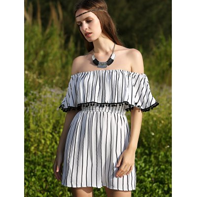 Stylish Short Sleeve Off The Shoulder Striped Women's Dress