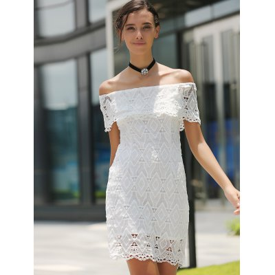 Fashionable Off The Shoulder Short Sleeve Lace Dress For Women