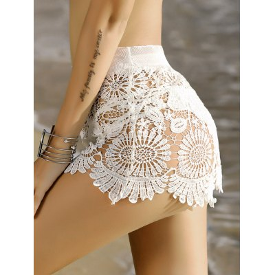 Stylish Crochet Scalloped Cover-Up Shorts For Women