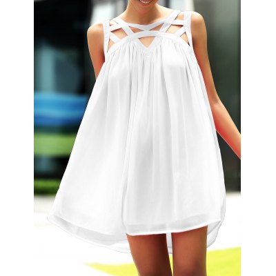 Stylish Round Neck Sleeveless Hollow Out Dress For Women