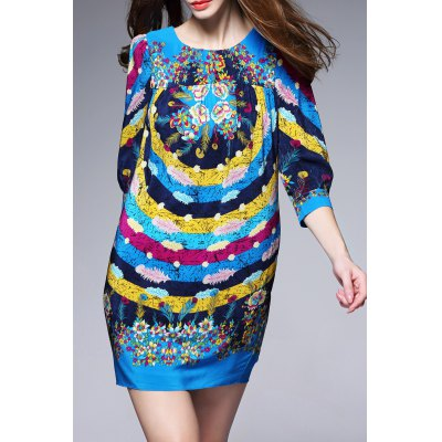 Colorful Printed Mini Dress