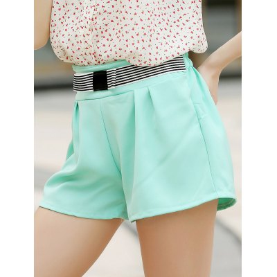 Bowknot Embellished Solid Color High-Waisted Shorts For Women