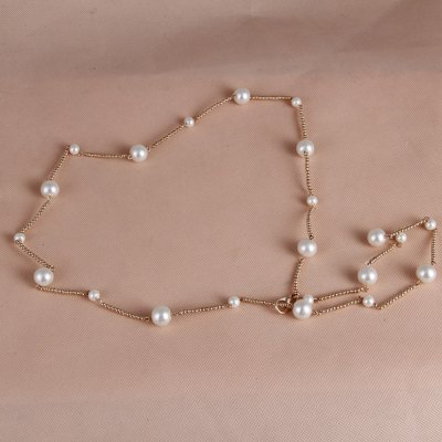 Chic Faux Pearl Hip High Waist Extra Narrow Waist Chain For Women