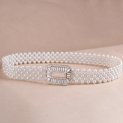 Rhinestone Round Rectangle Buckle Faux Pearl Stretch Waist Belt For Women