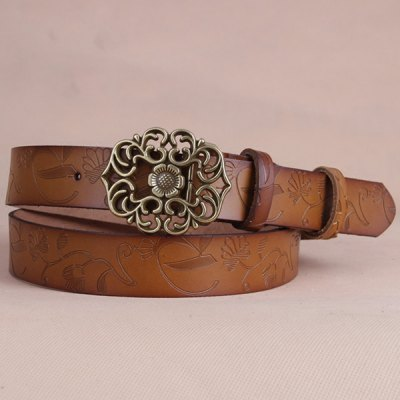 Fossil Baroque Flower Buckle Embossed Wide Belt For Women