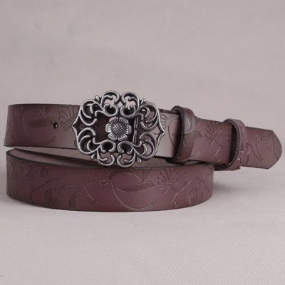 Chic Fossil Baroque Flower Buckle Embossed Wide Belt For Women