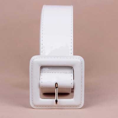 Chic Square Buckle Basic Dress Leatherette Wide Belt For Women