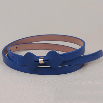 Chic Sweet Bowknot Accent Leatherette Slender Belt For Women