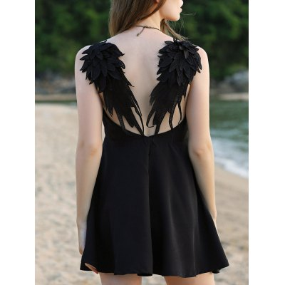 Sleeveless Wing Embroidery Flare Dress