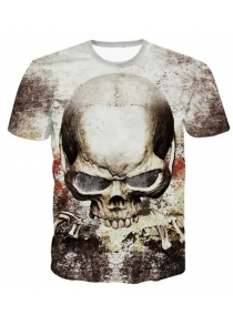 3D Personality Round Neck Skulls Printed Short Sleeve T-Shirt For Men